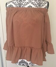 Women's Valleygirl Fashion Camel Off Shoulder Boho Top Size 8 BNWT