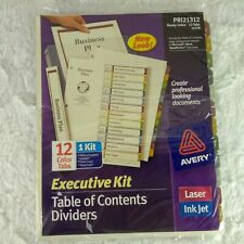 Avery Executive Kit Table Of Contents Dividers 12 Tabs 11278 Laser Inkjet