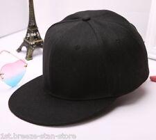 Hot Fashion black Blank Plain Snapback Hat Hip-Hop bboy Baseball Cap Adjustable