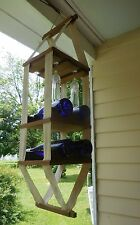 GREAT OUTDOOR HANGING WINE RACK CAMPING RV WOOD AND CANVAS