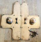 Vintage Architectural Salvage Pair Brass Door Plates With Knobs & Escutcheons