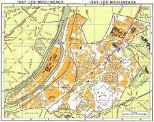 Paris. issy-les-moulineaux 1920 ancienne vintage carte plan graphique