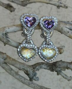 Judith Ripka Amethyst And Gold Leaf Doublet Heart Earrings CLIP Sterling Silver