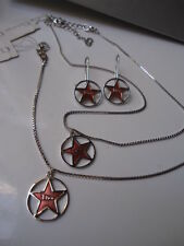 DIOR STAR Stunning Gift Set Necklace Earrings Bracelet Red Silver Tone new Box