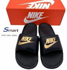 NIB SIZE 14 MEN Nike Benassi JDI Logo Slides Sandals Slipper Black Gold EUR 48.5