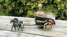 Beautiful Vintage Brass & Glass Whisky Decanter With Horse Drawn Carriage *