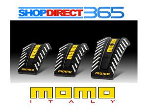 """Genuine MOMO """"Nero"""" Black Silver Yellow Pedal Cover Pads Non slip sports 3pcs"""