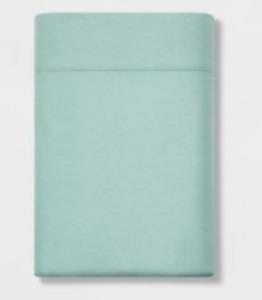 NWT Threshold 300-TC Ultra Soft Flat Sheet - Mint Ash - Size: Queen