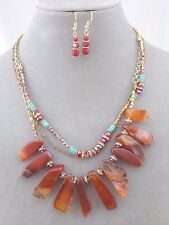 Necklace Earrings Set Layered Gold Chain Natural Brown Stone Fashion Jewelry NEW