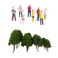 HO OO Model Train Railway Scenery Building Accessories Tree+Passenger Figure