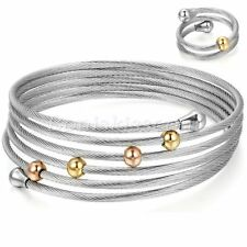 Women's Elastic Stainless Steel Twisted Multi-lap Open End Cuff Bangle Ring Set