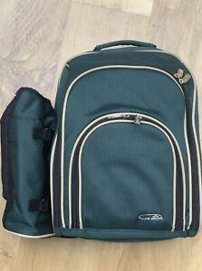 Hi Gear Picnic Bag Backpack Insulated Food Pocket Green Wine Glasses Plates