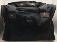 """EDDIE BAUER Black Nylon Canvas Duffel Bag Luggage w/ Leather 11x9.5x16"""" (RF976)"""