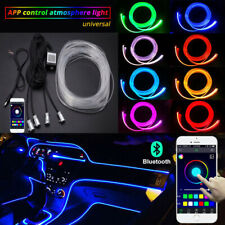 Car RGB LED Interior Neon EL Sound Strip Light Active Bluetooth Phone Control