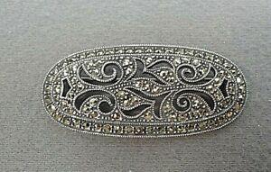Vintage Large Judith Jack 925 Sterling Marcasite /& Malachite Acorn Dangle Pin Brooch