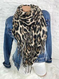 Blogger Trend kuschel Schal Tuch scarf animal Leo Leopard hell  Fransen  Neu