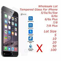Wholesale Tempered Glass Screen Protector for iPhone 8 7 6 6s 5 Plus X Xs Xr Max