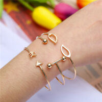 3Pcs/Set Simple Women Gold Plated Open Adjustable Cuff Bracelet Bangle Jewelry