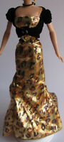 DRESS MATTEL BRONZE SENSATION BARBIE DOLL METALLIC GOLD BROWN PRINT EVENING GOWN