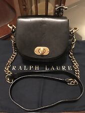 Ralph Lauren Womens Collection Crossbody Gold Chain 100% Leather Bag Polo Black