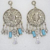 7cm Cotton Thick Tassels Boho Earring Necklace Tassels 1 pc Gold Cap Long Tassel Turquoise #31