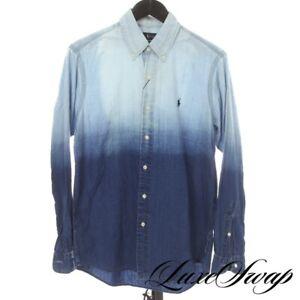 NWT $168 Polo Ralph Lauren Linen Mix Denim Indigo Blue Dip Dye Ombre Shirt S NR