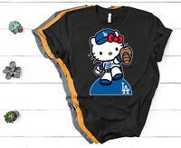 Dodgers Hello Kitty T-Shirt LA Baseball for shirt women