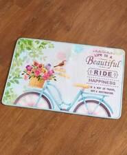 Vintage Retro Bicycle Bath Rug Spring Birds Bike Flowers Basket Bath Rug