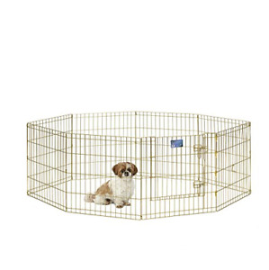 Dog Exercise Pen w/ Door Enclosures Pet Play Yard Animal Fence Outdoor Crate