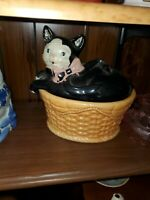 Black Cat in a Basket COOKIE JAR