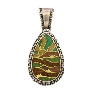 Relios Southwestern Sterling Silver Chip Inlay Sunset Pendant
