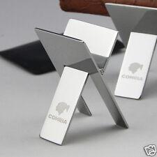 COHIBA Stainless Steel Foldable Cigar Stand Ashtray Holder Bracket /Leather Case