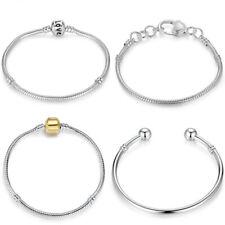 W/ Barell Bracelet Bead Chain Clasp Charm Fit Silver 925 Jewelry European Snake