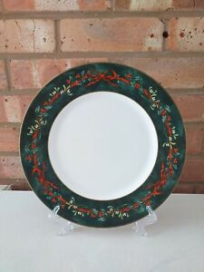 "Royal Worcester 10.5"" Dinner Plate - Holly Ribbons Green - Made in England"