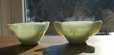 Miniature doll house size colored glass mixing batter bowls white greenish