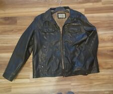 MENS DISTRESSED LEATHER BOMBER JACKET SIZE XXL , SONOMA BRAND
