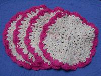 Crochet Dish Cloths or Wash Cloths Pink & Beige Circle Shaped Handmade Lot of 4