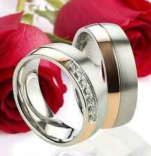 2 Eheringe Trauringe Verlobungsringe Rose Gold Plattiert Gravur GRATIS TE2438