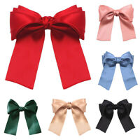 Women Large Bow Ribbon Barrettes Steel Hairpin Satin Hair Clip Hair Accessories