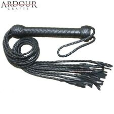 Genuine Real Leather Flogger Bull Hide Leather Flogger Whip 09 Braided Tails