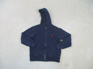 Ralph Lauren Polo Sweater Youth Small Blue Red Pony Full Zip Hoodie Boys Kids B2