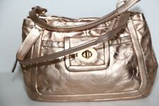 COACH Cricket Embossed Gold Metallic Leather Satchel Bag 13608