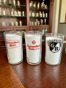 Three Griesedieck Bros. St. Louis, Missouri - Shell Beer Glasses