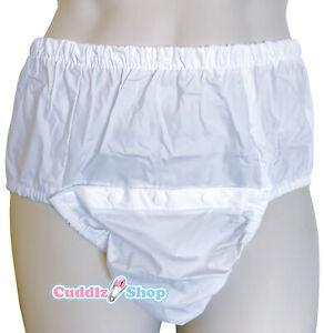 Cuddlz Adult Size White Front Snap On PVC Plastic Incontinence Pants Briefs