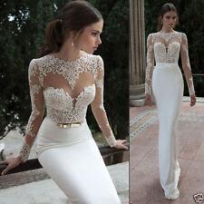 2017 Mermaid Lace Long Sleeve White/Ivory Wedding Dresses Berta Bridal Gowns