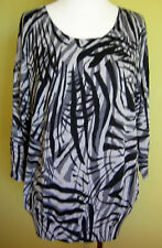 Ladies Womens 3/4 Sleeve Knit Pullover Jumper Long Top Suzanne Grae Size L