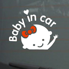 Baby in Car Cute Girl Red Clips Vinyl Decal Tail Gate Trunk Windshield Sticker