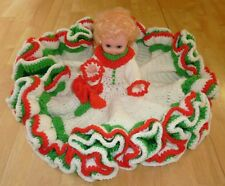 Vintage CHRISTMAS HOLIDAY DOLL Crochet Knit Decorative Bed Boudoir Ruffled Dress