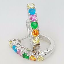 New Sterling Silver Huggie Style Pave Set CZ Multi Color Latch Back Earrings
