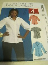UNCUT McCALL'S Misses' Shirts Made-for-you Sewing Pattern # M6035 6-12 2010